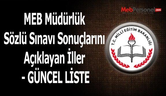 MEB Müdürlük Sözlü Sınavı Sonuçlarını Açıklayan İller - GÜNCEL LİSTE