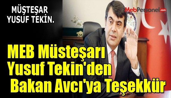 MEB Müsteşarı Yusuf Tekin'den Bakan Avcı'ya Teşekkür