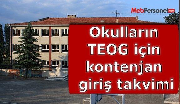Okulların TEOG için kontenjan giriş takvimi