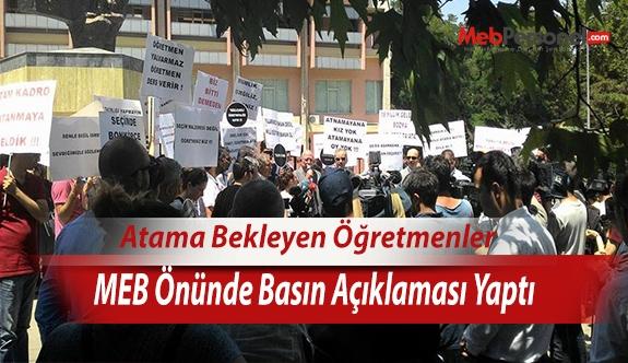 Atama Bekleyen Öğretmenler  MEB Önünde Basın Açıklaması Yaptı