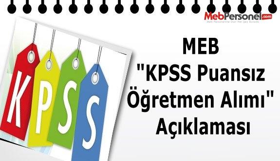 """MEB """"KPSS Puansız Öğretmen Alımı"""" Açıklaması"""