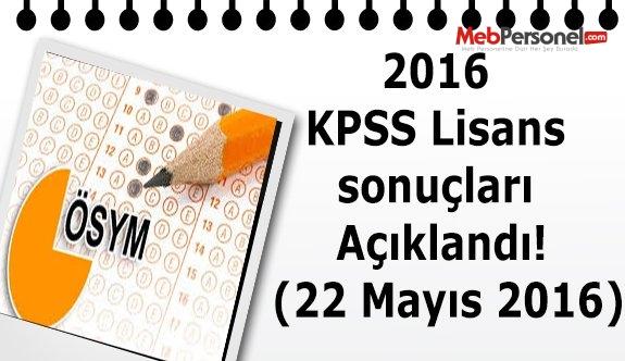 2016 KPSS Lisans sonuçları Açıklandı! (22 Mayıs 2016)