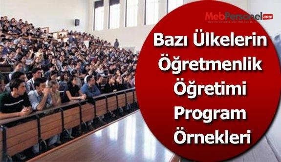 Bazı Ülkelerin Öğretmenlik Öğretimi Program Örnekleri