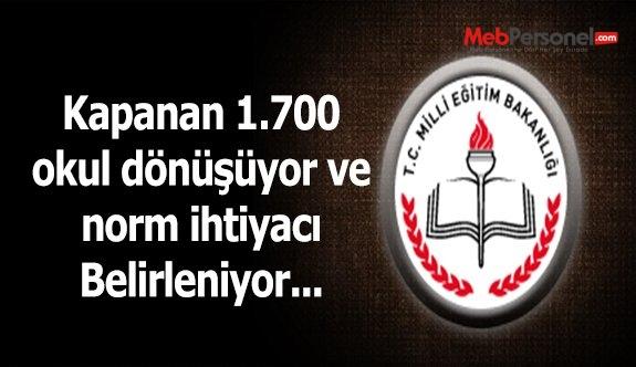 Kapanan 1700 okul dönüştürülecek