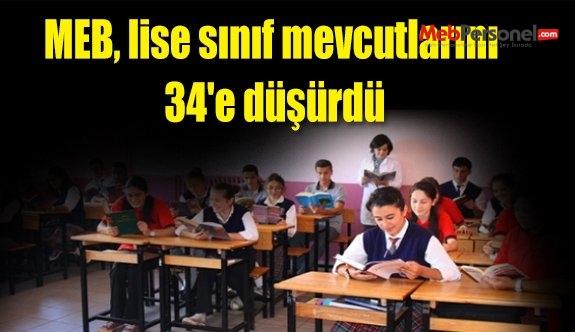 MEB, lise sınıf mevcutlarını 34'e düşürdü