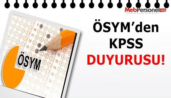 ÖSYM'den Son Dakika KPSS Duyurusu