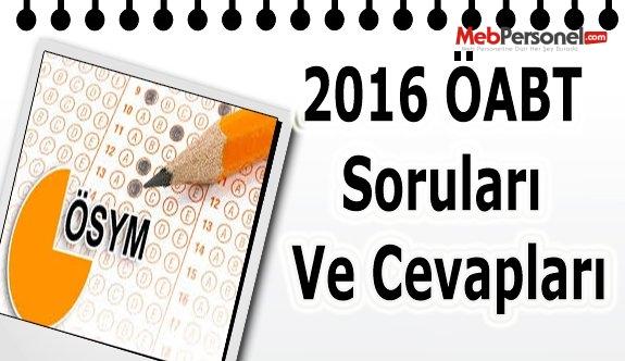 2016 ÖABT Soruları Ve Cevapları