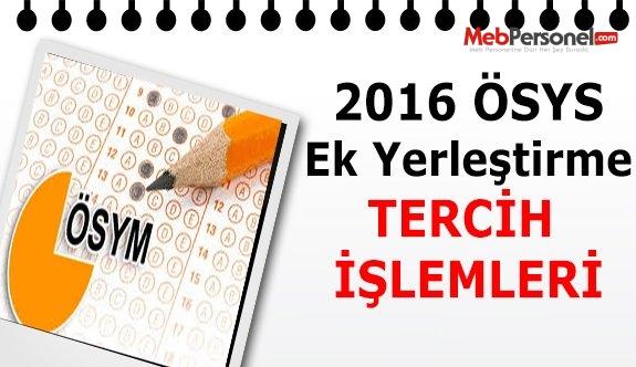 2016-ÖSYS Ek Yerleştirme Tercih İşlemleri