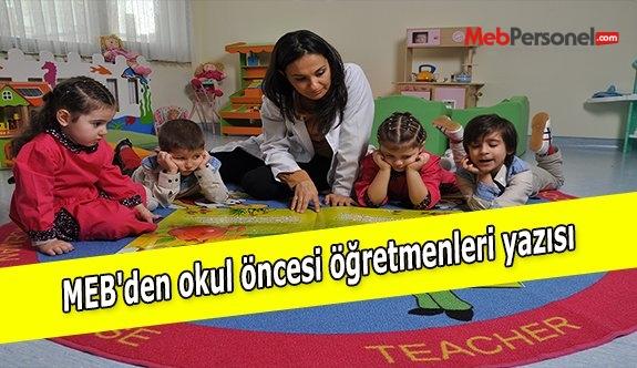 MEB'den okul öncesi öğretmenleri yazısı