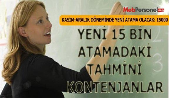 Yeni 15 Bin Öğretmen Atamasında Kontenjan Dağılımı