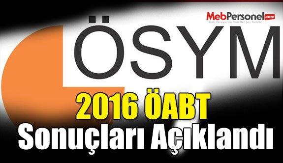 2016 ÖABT Sonuçları Açıklandı