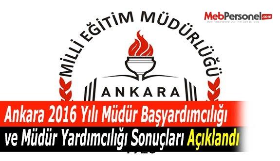 Ankara 2016 Yılı Müdür Başyardımcılığı ve Müdür Yardımcılığı Sonuçları Açıklandı