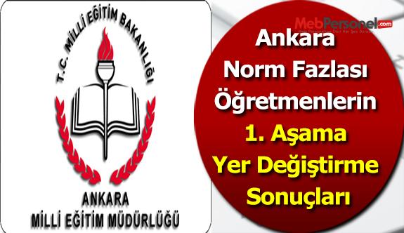 Ankara Norm Fazlası Öğretmenlerin 1. Aşama Yer Değiştirme Sonuçları