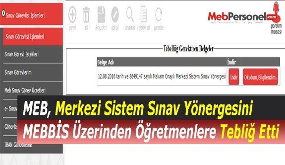 MEB, Merkezi Sistem Sınav Yönergesini MEBBİS Üzerinden Öğretmenlere Tebliğ Etti