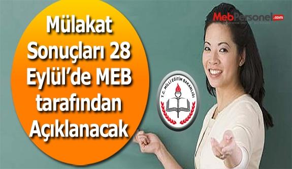 MEB, Mülakat Sonuçlarını 28 Eylül'de Açıklayacak