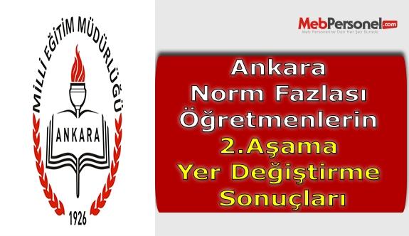Ankara Norm Fazlası Öğretmenlerin 2.Aşama Yer Değiştirme Sonuçları