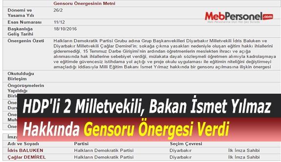 HDP'li 2 Milletvekili, Bakan İsmet Yılmaz Hakkında Gensoru Önergesi Verdi