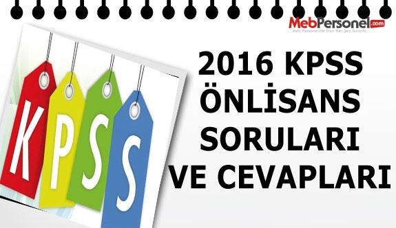 KPSS Önlisans Soru Ve Cevapları ( 16 Ekim 2016)