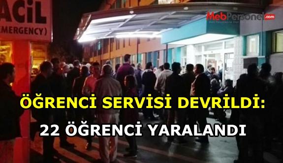 Öğrenci servisi devrildi, 24 öğrenci yaralandı