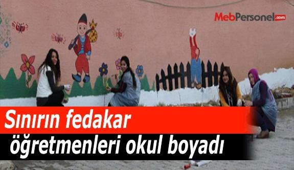 Sınırın fedakar öğretmenleri okul boyadı