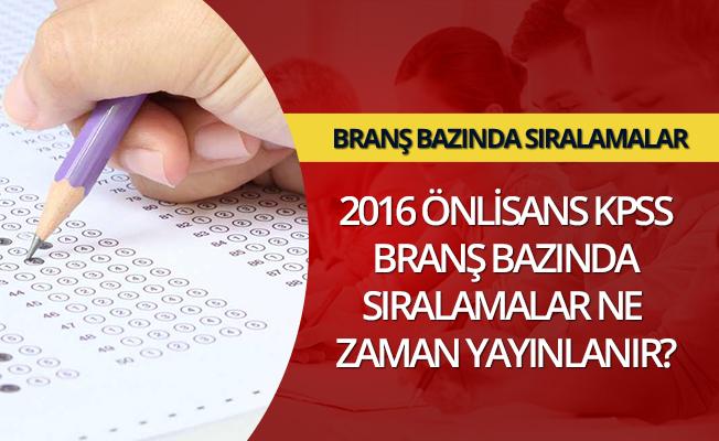KPSS Önlisans Branş Bazından Sıralama Sayfası