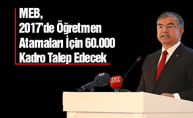 MEB, Öğretmen Atamaları İçin 60.000 Kadro Talep Edecek