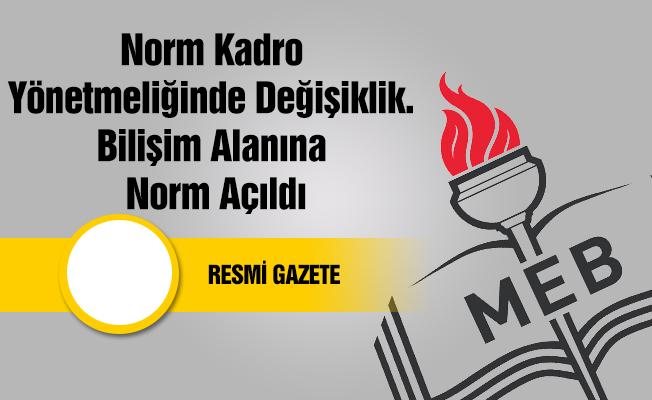 Norm/Kadro Yönetmeliğinde Değişiklik. Bilişim Alanına Norm Açıldı