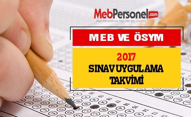 MEB ve ÖSYM'nin 2017 Sınav Takvimi