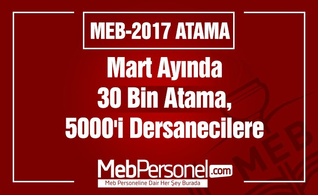 Mart Ayında 30 Bin Atama, 5000'i Dersanecilere