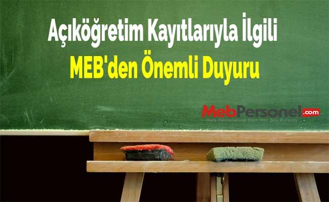 Açıköğretim Kayıtlarıyla İlgili MEB'den Önemli Duyuru
