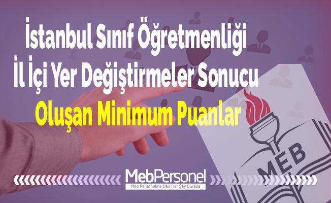 İstanbul Sınıf Öğretmenliği İl İçi Yer Değiştirmeler Sonucu Oluşan Minimum Puanlar