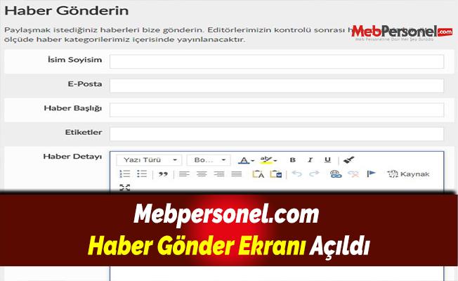 Mebpersonel.com Haber Gönder Ekranı Açıldı