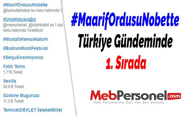 #MaarifOrdusuNobette Türkiye Gündeminde 1. Sırada