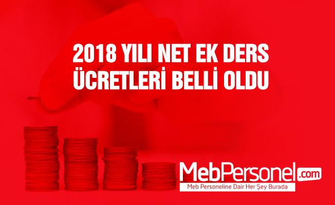 2018 Yılı Altı Aylık Dönemler Ek Ders Ücreti