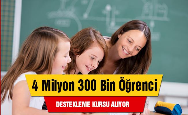 4 milyon 300 bin öğrenci destekleme kursu alıyor