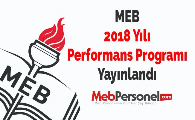 MEB 2018 Yılı Performans Programı Yayınlandı
