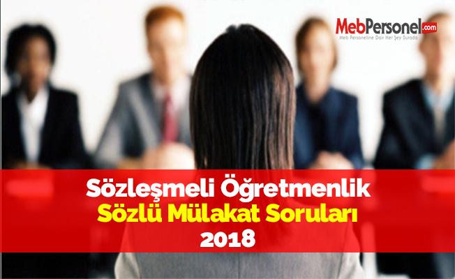 Sözleşmeli Öğretmenlik Sözlü Mülakat Soruları 2018