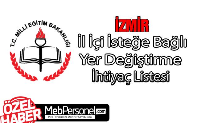 İzmir İl İçi 2018 Öğretmen İhtiyaç Listesi