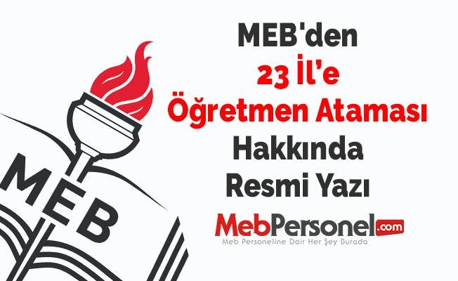 MEB'den ''23 İle Öğretmen Ataması'' Hakkında Resmi Yazı