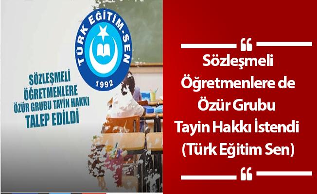 Sözleşmeli Öğretmenlere de Özür Grubu Tayin Hakkı İstendi (Türk Eğitim Sen)