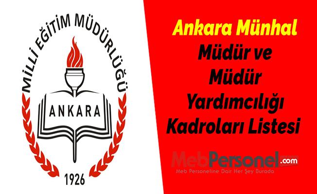 Ankara Münhal Müdür ve Müdür Yardımcılığı Kadroları Listesi