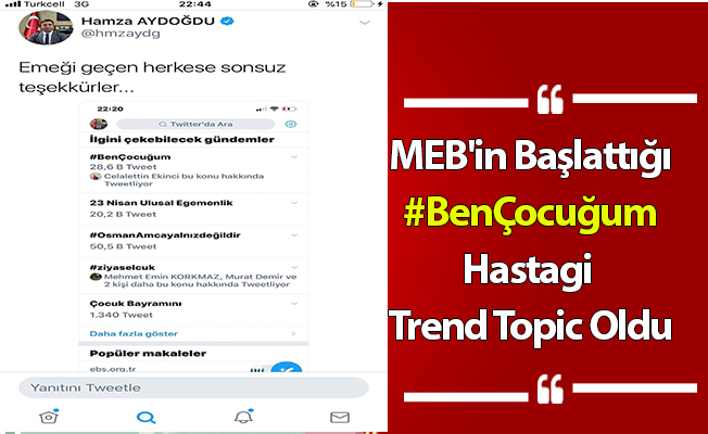 """MEB'in Başlattığı """"#BenÇocuğum"""" Hashtagi Trend Topic Oldu"""