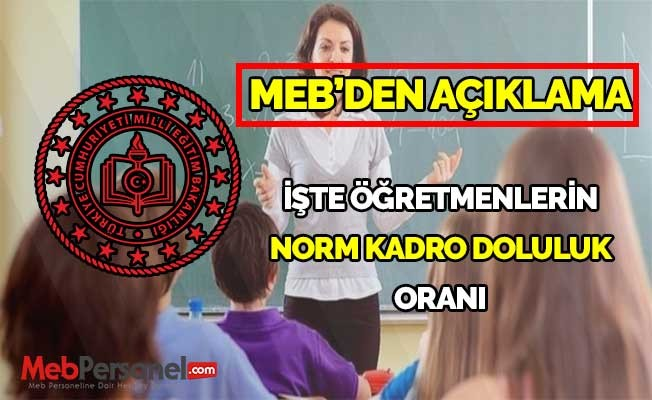 İşte Öğretmenlerin Norm Kadro Doluluk Oranı
