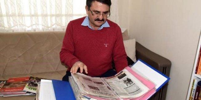 Sınıf öğretmeni, 33 yıldır yerel gazetelerin arşivini tutuyor