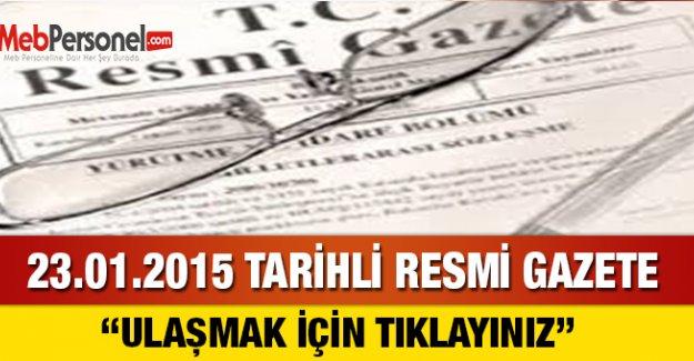 23.01.2015 Tarihli Resmi Gazete