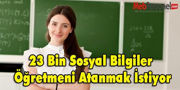 23 Bin Sosyal Bilgiler Öğretmen Adayı atanmak istiyor.