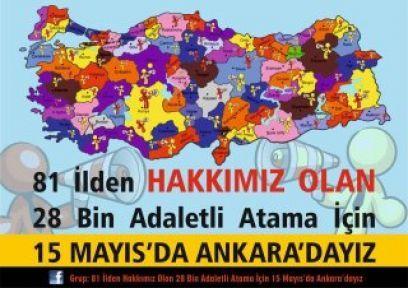 Atama Bekleyen Öğretmenler 15 Mayıs'da Ankarada