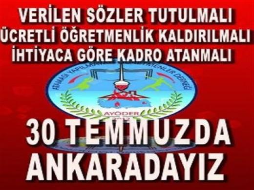 Ataması Yapılmayan Öğretmenler 30 Temmuz'da Ankara'da