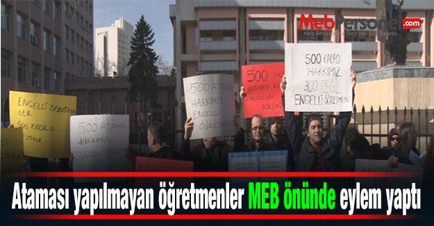 Ataması yapılmayan öğretmenler MEB önünde eylem yaptı