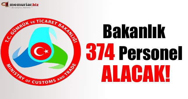 Bakanlık 374 personel alacak!